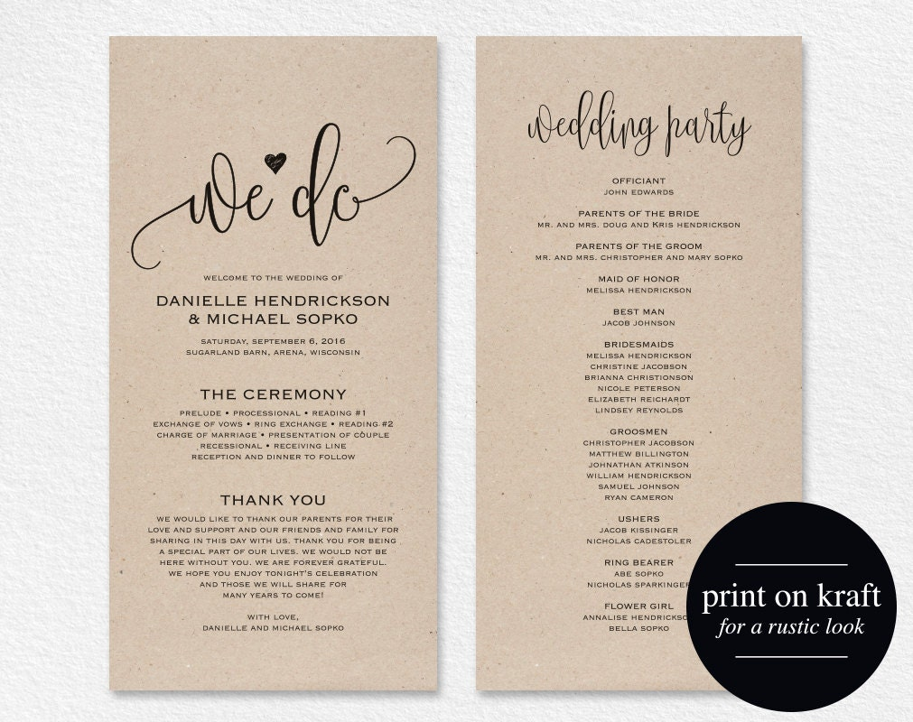 Wedding Program Template Wedding Program Printable We Do