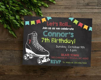 Chalkboard Roller Skate Theme Birthday Party Invite, Roller Skating Party Invite, Personalized Year Birthday Invite, Printable or Printed