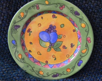 SANGO, 6 pieces, (3 Soup, 1 Salad, 2 Dinner) CHINA, SANGRIA Pattern,primarily Green Perfect Condition, by: Sue Zipkin