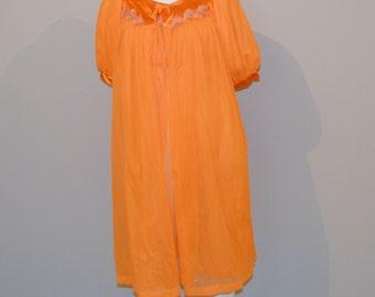 Vintage Robe & Nightie Tangerine Peignoir 60s