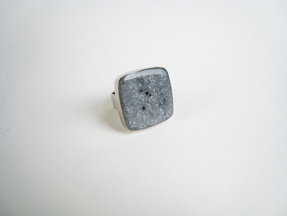 Granite ring, grey resin ring, grey stone ring, faux granite - faux marble ring, modern minimalist, big chunky square ring, stainless steel