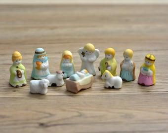 Vintage,Vintage Christmas,Figurines, Nativity set,Ceramic Nativity,Baby Jesus,Horse,Cow,Sheep,Angel,Eleven pieces