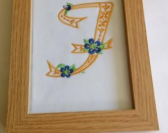 Framed Embroidered F