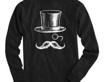 Monocle Man Tee - Long Sleeve T-shirt - Men S M L XL 2x 3x 4x - Top Hat Shirt, Handlebar Mustache Shirt, Vintage Shirt, Hipster Shirt