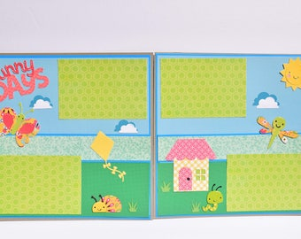 """Sunny Days -  12"""" x 12"""" Premade Double Scrapbook - Cricut and Paper Piecing, 4 Photo Mats for Pictures"""