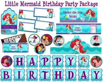 Little Mermaid Party Package Little Mermaid Birthday Party Pack Ariel Birthday Party Ariel Party Supplies Package Printable Instant Download