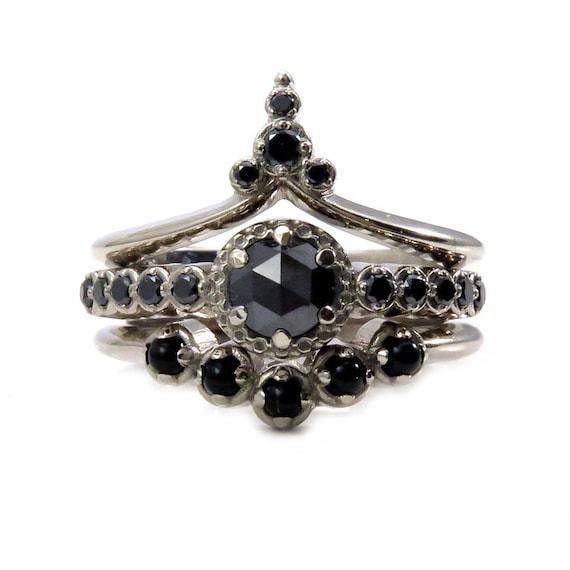 Gothic Art Deco Black Diamond Engagement Ring Set - Black Diamonds and Onyx