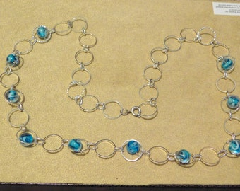 Blue Glass & Silver Rings Necklace