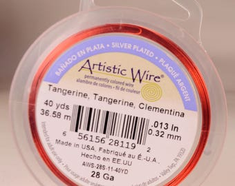Artistic wire 28 gauge: silver-plated, copper core, tangerine color
