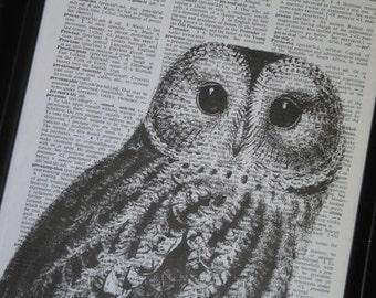 Owl Print Owl Art Print Owl Decor Owl Head Dictionary Book Page Print 8 x 10 Black