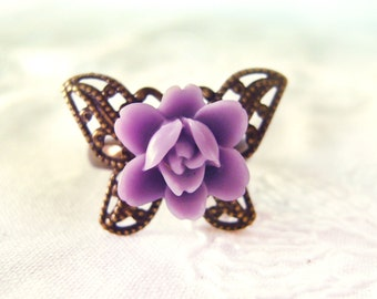 Lotus flower Ring. Butterfly Flower Ring. Adjustable Ring. Purple Butterfly Ring. Minimalist ring. Gift for her Fairy Tale Whimsical Jewelry