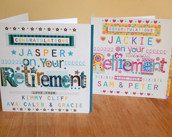 Retirement special card personalised card for retirement male retire card female retire card
