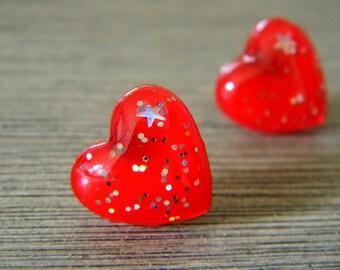 Red Sparkle Heart Post Earrings Stud Earrings 13mm