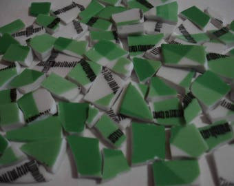 Mosaic Tiles Green Plaid w White Black Mosaic Tiles Pieces - Broken China Plate -Tessera