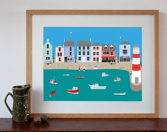 English Seaside Village Art Print in Naive Style