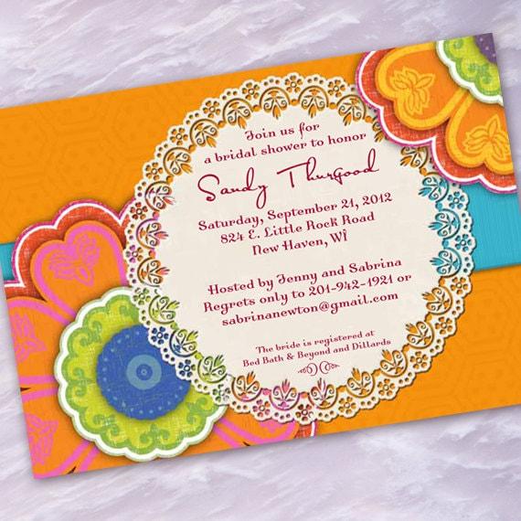 bridal shower invitations, tangerine bridal shower invitations, hot pink bridal shower invitations, tangerine baby shower invitations, IN181