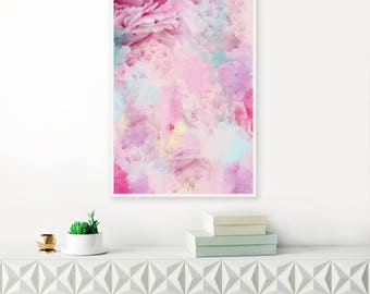 Peony Art, Abstract Flower Print, Floral Painting, Abstract Flower Art, Mixed Media Painting, Modern Nursery Art, Large Abstract Art