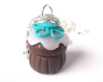 Chocolate Cupcake Necklace ( blue velvet cupcake polymer clay jewelry cupcake charm food jewelry kawaii cupcake pendant miniature food )