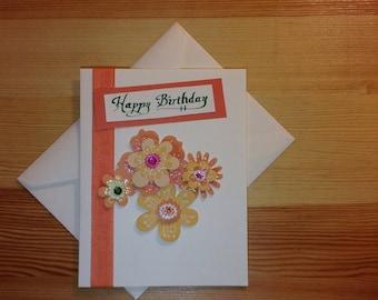 Birthday Card with Orange Glitter Flowers
