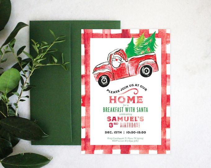 PRINTABLE Birthday Party Invitation | Breakfast with Santa