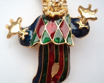 Vintage Unsigned Goldtone/Green/Red Moveable Clown Brooch/Pin