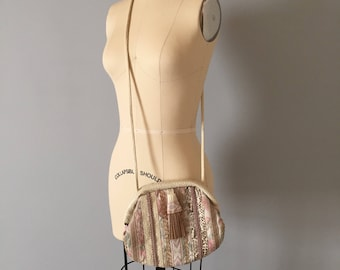 pastel tapestry messenger bag | 80s flower canvas tassel purse