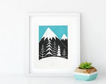 Highland Winter linoprint wall art