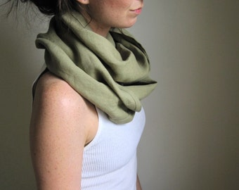 RESERVED for Reilly - Pale Rosemary Green, Linen Infinity Scarf, Linen Cowl, Linen Clothing, Circle Scarf, Spring Green Scarf