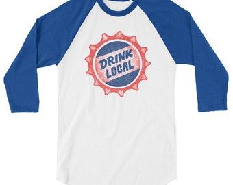Drink Local Cap, 3/4 Sleeve Raglan Shirt
