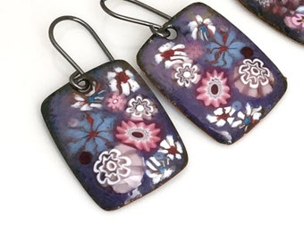 Copper Enamel Flower Earrings, Enameled Earrings, Pink and Purple Flowers, Long Pearl Bead Chain, OOAK Art Jewelry, WillOaks Studio