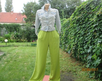 Silk Pants / Womens Pants / Wide Legs Pants / Pants Vintage / Size M / Elastic Waist / For Tall / Elastic Waist / Pockets / Salad Green