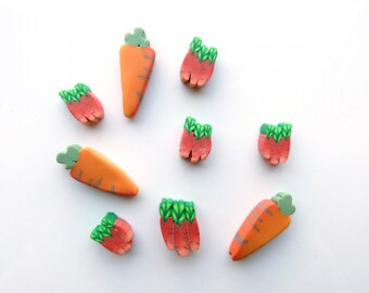 CARROT BEADS and bunches of carrots, beads for stitch markers, jewelry or pins, handmade polymer clay, perles carottes Set of 9 pces