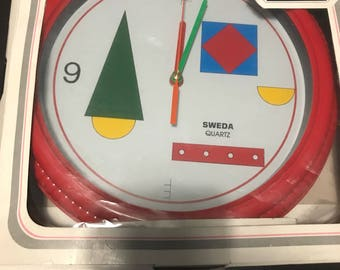 Vintage Sweda Red Quartz Wall Clock