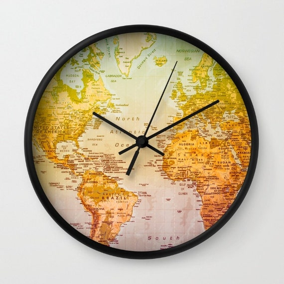 World map wall clock colorful art wall decor map colors gumiabroncs Gallery