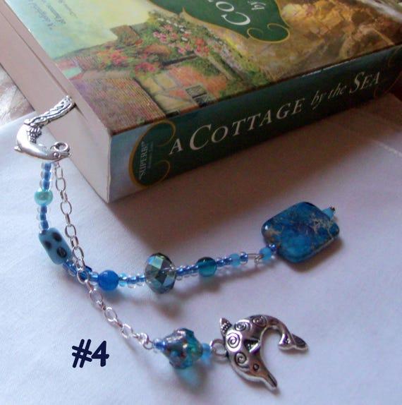 Gemstone bookmark - blue Jasper  - ocean charm -  beaded page marker - Gift for Reader - silver dolphin  shepherds hook -  9 inch  long