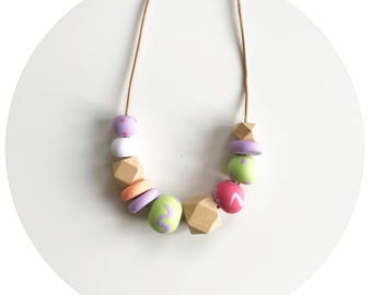 Daphne - Purple, Green, Pink and Orange Handmade Polymer Clay Bead Necklace