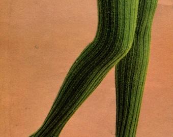 Retro Ribbed Tights -- Leotards --  PDF KNITTING PATTERN