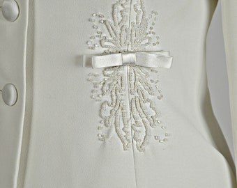 White Suit, Bridal Suit, White Beaded Suit, Jacket & Pencil Skirt, Long Sleeved Suit, Courthouse Wedding Dress, White Church Dress, Size 6