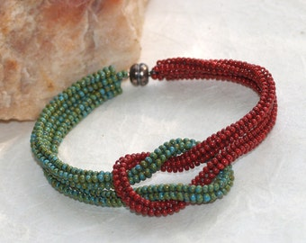 Tucson ... Bracelet . Knotted . Turquoise . Brick Red . Southwest Colors . Magnetic Closure . Simple . Modern . Knot Ready for Prime Time