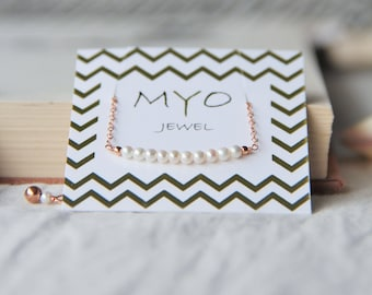 Bar bracelet with pearl beads, chain plated yellow gold and pink, gift idea for woman, wedding, minimalist, fine jewelry, delicate by Myo jewel