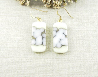 Cream and White Hanging Glass Earrings - Fused Glass Dangle Earrings with Gold Filled Earwire - Handmade Glass Jewelry - Drop Earrings