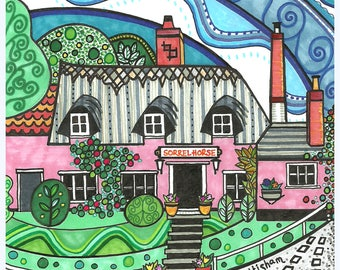 "The Sorrel Horse Pub, Shottisham, Suffolk  6x6"" greetings card"