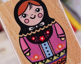 Russian Doll Stamp Wooden  Stamp Vintage Wood Rubber Stamp DIY Card  Making Scrapbooking  Decor Stamp – WR195