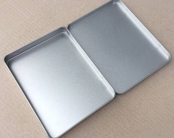 Rectangular Metal Tin, Blank Hinged Tin, Color Silver 350ml Tin box, A6 Size Tin Box (a set of 50 tin boxes), Tin Box For Craft Supply