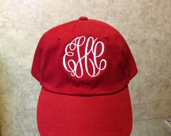 Womens Cardinal Red Hat with White Monogram/True Colored Hats/Personalized Baseball Hats/Monogrammed Hats