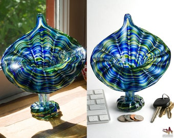 Hand Blown Glass Jack In The Pulpit Vase - Wild Blue and Sparkly Green Streaks