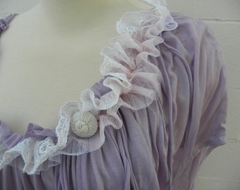 Lavender ruffled Knit Top 3X  recycled clothing Plus size
