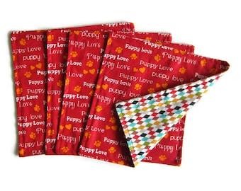 Kids Cloth Napkins, Cotton Reversible Napkins, Set of 4,Paw Print, Double Sided Lunchbox Napkins, 2 Ply, Reusable, Washable, EcoFriendly