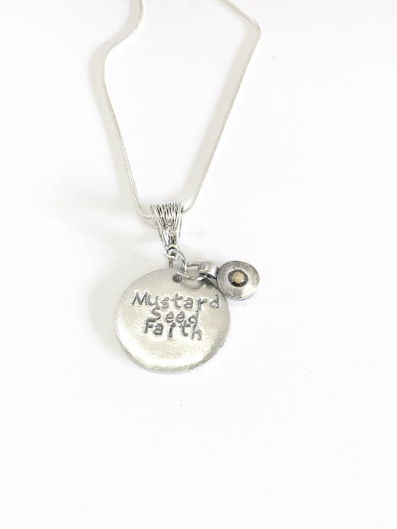 Mustard Seed Faith Hand Stamped Pendant on Silver Chain, Luke 17:6 Bible Verse Jewelry, Motivational Graduation Gift for Her
