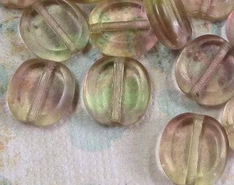 Czech Oval Beads, Pale Topaz and Lavender, 12 Beads - Item 749